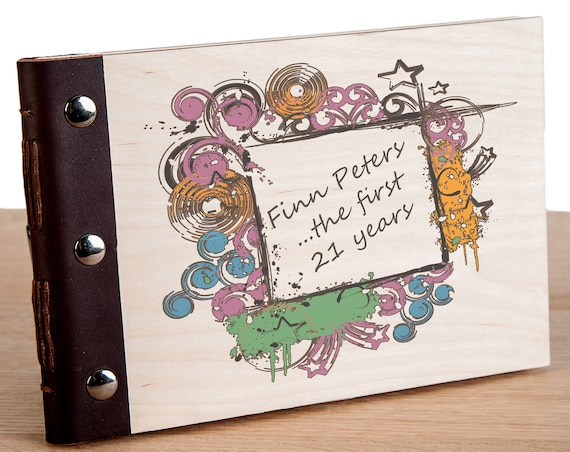 21st Birthday Photo Album. Personalised Wood Bound Guest Book