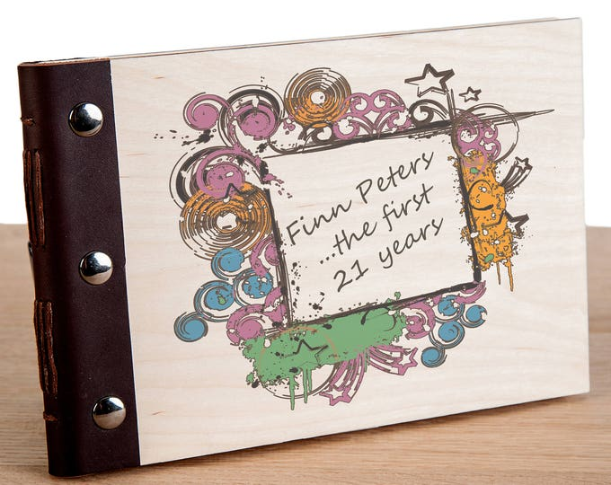 21st Birthday Personalised Wood Bound Photo Album, Memories, Guest Book, Leather Bound, Scrap Book