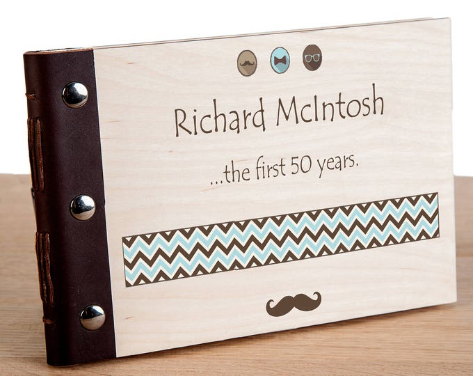 50th Birthday Personalised Wood Bound Photo Album, Memories, Guest Book, Leather Bound, Scrap Book