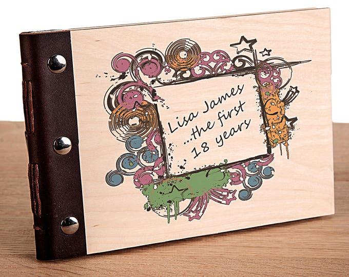 18th Birthday Personalised Wood Bound Photo Album, Memories, Guest Book, Leather Bound, Scrap Book