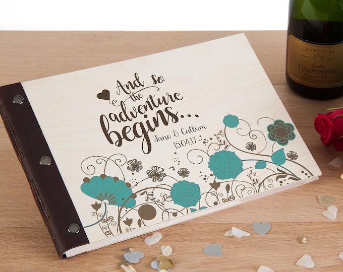 Wedding Photo Album, Photo Album, Wedding Guestbook, Wedding Guest Book, Wedding Album, Scrapbook Album, Wedding Memory Book, Blue Flowers