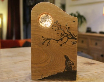 Rustic Reclaimed Wood Tealight Holder 'Moon Gazing Hare'