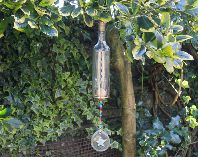 Featured listing image: Glass Wine Bottle Wind Chime with Rainbow Glass Beads. Upcycled Outdoor Garden Patio Decor.