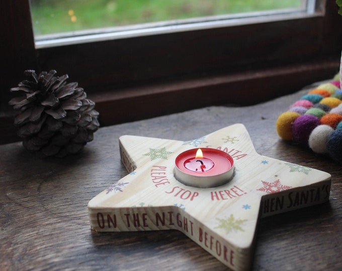 Christmas Eve Star Candle. Santa Stop Here Sign. Guiding Light for Father Christmas