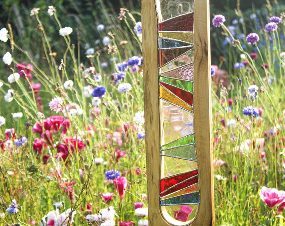 Garden Sculpture. Reclaimed Wood and Stained Glass Art.