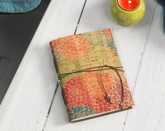 A6 Faux Leather Chrysanthemum Cork Notebook. Eco Friendly Journal