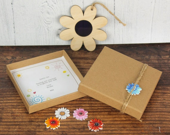 Suncatcher Gift. Personalised Wooden Flower Window Decoration