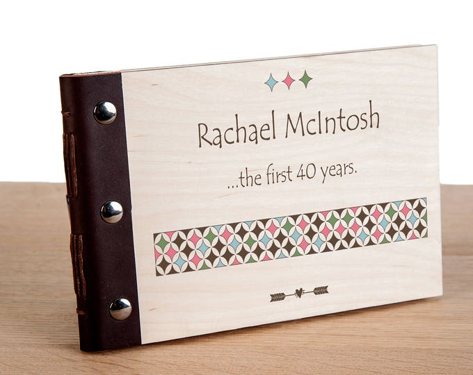 40th Birthday Personalised Wood Bound Photo Album, Memories, Guest Book, Leather Bound, Scrap Book