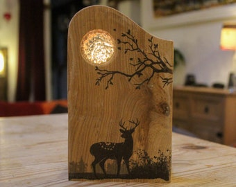 Rustic Reclaimed Wood Tealight Holder 'Majestic Stag'