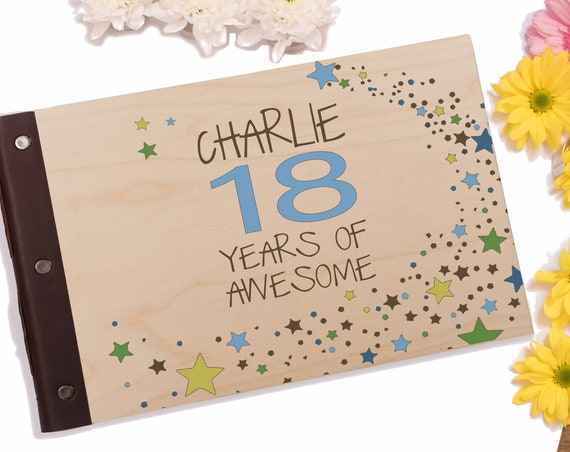 18th Birthday Photo Album. Personalised Wooden Memory Book. Guest Book, Scrap Book Journal or Wooden Notebook
