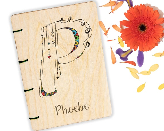 Zentangle Notebook. Personalised A6 Wooden Monogram Journal.