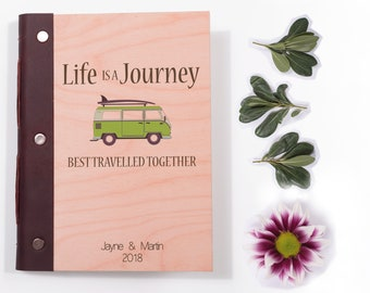 Couple's Travel Journal. Van Life Personalised Wooden Notebook. Great Honeymoon Gift with Camper Van. Our Adventure Book.