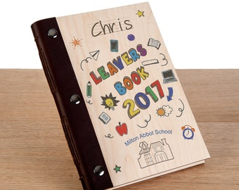 School Leavers Book. Leavers Graduation Gift. Primary School Yearbook with Wood Covers. Personalised Student Memory Book
