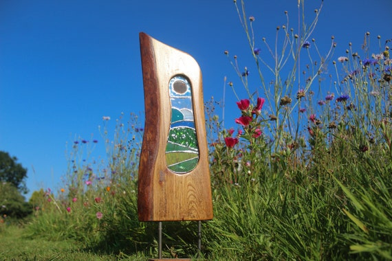 Wood and Glass Sculpture. Reclaimed Wood Art with Stained Glass Panel. The Devon Hills