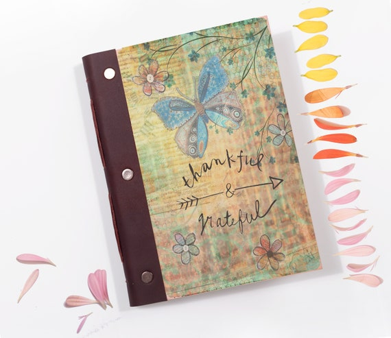 Gratitude Journal. Bullet Journal with Wood Covers. A5 Wooden Notebook. Mindfulness Gift.