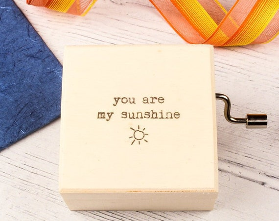 You Are My Sunshine Music Box. Personalised Wooden Keepsake Box. Perfect Gift for Someone Special.