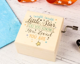 Twinkle Twinkle Little Star Wooden Music Box. A Personalised Keepsake for a Newborn, for Baby Showers or New Mums