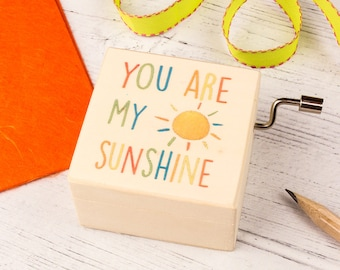 You Are My Sunshine Music Box. Personalised Wooden Keepsake Box. Beautiful New Baby, Christening or Naming Day gift.