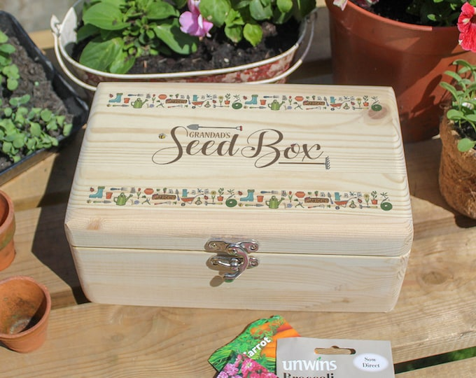 Personalised Seed Box Gift. Gardener's Vegetable & Flower Seed Storage Box
