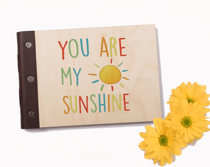 Baby's First Journal, Baby Memory Book, Photo Album. Baby Shower Gift, Christening Book, New Mom Gift, New Baby Gift, You Are My Sunshine