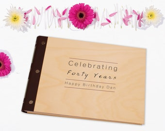 A4 Birthday Guest Book. Personalised Wooden Notebook. Photo Album or Party Planner