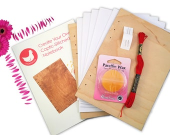DIY Coptic Stitch Journal Bookbinding Kit | Learn How To Make an Album with Wood Covers