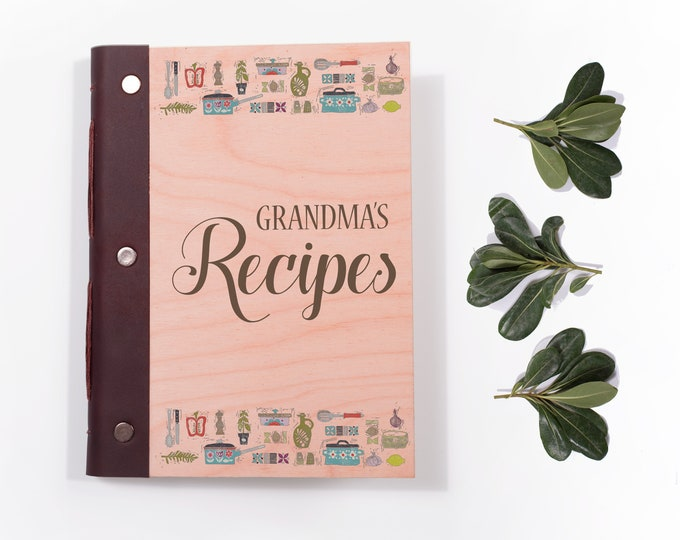 Blank Recipe Book with Wood Covers.  Personalised Wooden Notebook for Family Recipes.