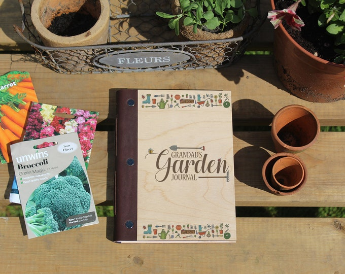 Featured listing image: Personalised Garden Journal with Wood Covers. Wooden Notebook for Gardeners.