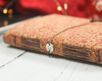 A6 Faux Leather Red Floral Cork Notebook. Eco Friendly Journal