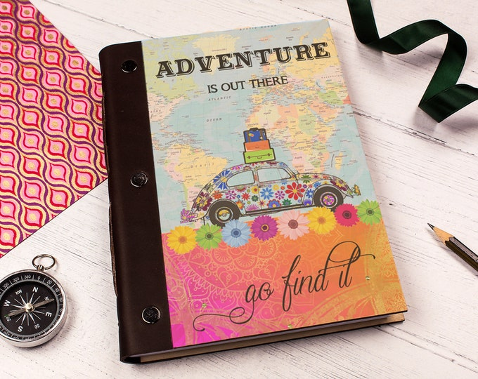A5 Wooden Notebook. Travel Photo Album. Boho VW Beetle Road Trip