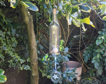 Glass Wine Bottle Wind Chime with Blue Glass Beads. Upcycled Outdoor Garden Patio Decor.