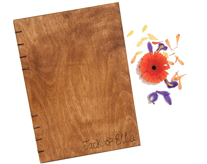 Personalised Journal with Wood Covers. Customised Blank Wooden Notebook