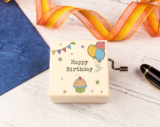 Happy Birthday Music Box. Personalised Wooden Keepsake Box. Special Unique Birthday gift.
