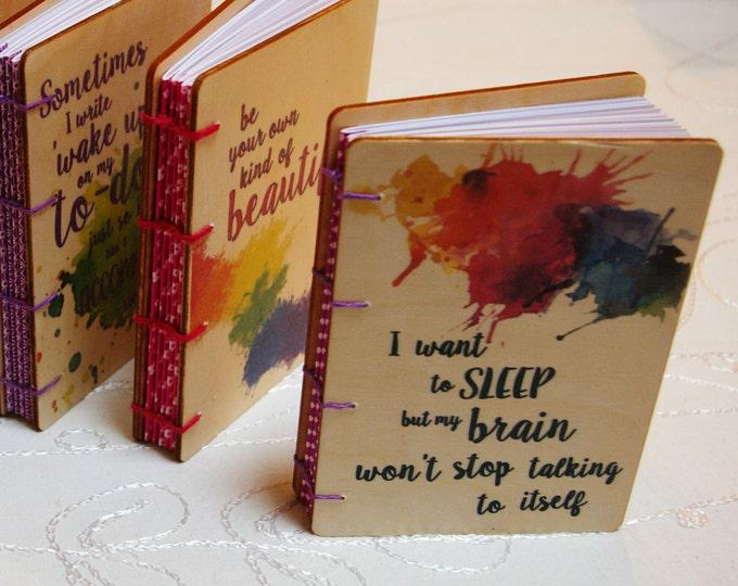 A6 Wood Cover Coptic Stitch Sleep Journal, Colorful, Inspirational, Washi Tape