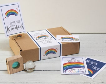 Personalised Rainbow Letterbox Gift Kit. Rainbow Positivity Self Care Package