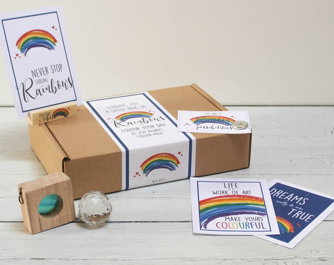 Featured listing image: Personalised Rainbow Letterbox Gift Kit. Rainbow Positivity Self Care Package