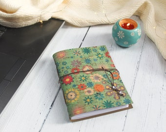 A6 Faux Leather Floral Cork Notebook. Eco Friendly Journal