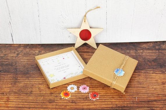 Star Suncatcher Gift. Personalised Wooden Star Window Decoration