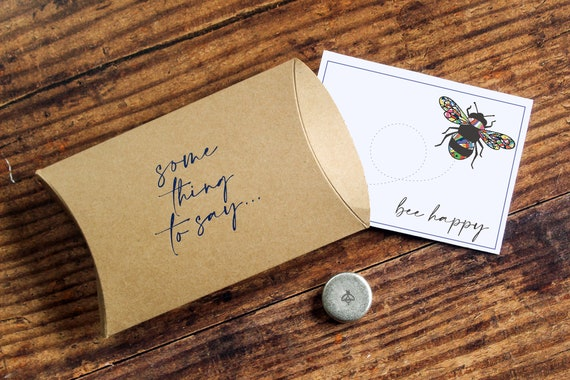 Bee Happy Pocket Token. Personalised Card Alternative. Bee Lover's Pocket Hug