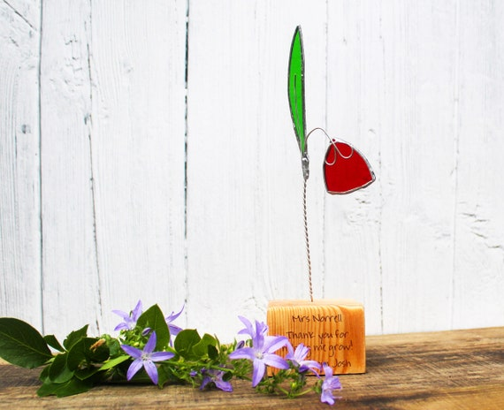 Stained Glass Flower Personalised Teacher or Mentor Thank You, End of Term Gift