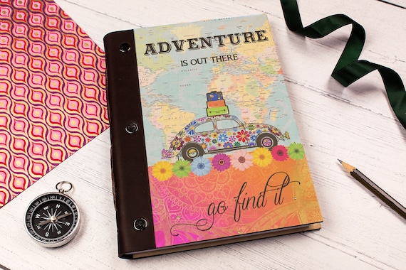 A5 Notebook. Wooden Travel Photo Album. Iconic Boho Beetle Road Trip