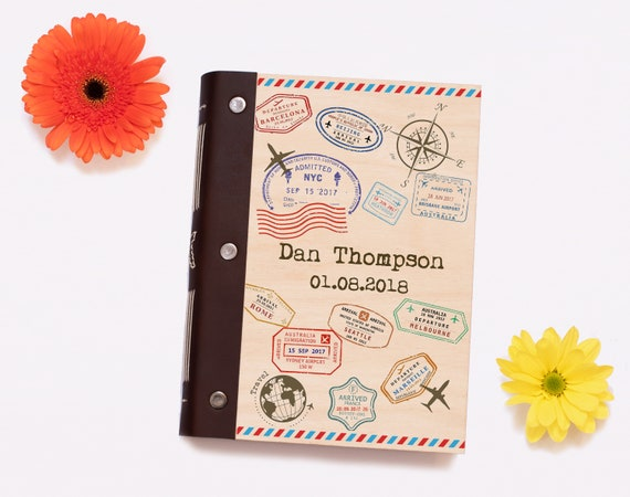 Travel Journal. Personalised Wooden Notebook or Travel Planner