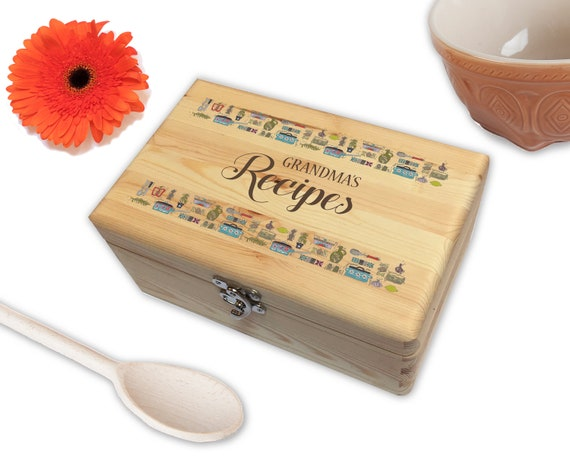 Personalised Wooden Family Recipe Keeper Box   A Perfect Way To Store All Your Family's Secret Recipes   Gift for Families