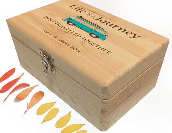 Van Life Travel Memory Box. Couple's Wood Photo Box. Personalised Wooden Family Keepsake Box