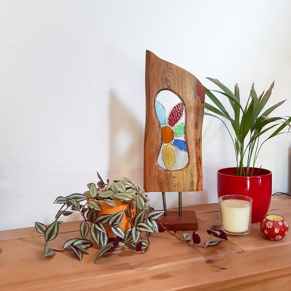 Wood and Glass Sculpture. Reclaimed Wood Art with Stained Glass Panel. Garden Flower