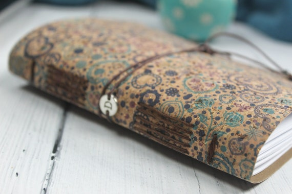 A6 Faux Leather Blue Cork Notebook. Eco Friendly Journal
