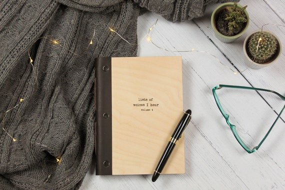 A5 Notebook. Funny Wood Writing Journal. Mindfulness Gift