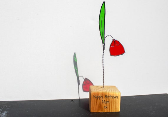 Stained Glass flower. Personalised handcrafted gift with Wooden Stand