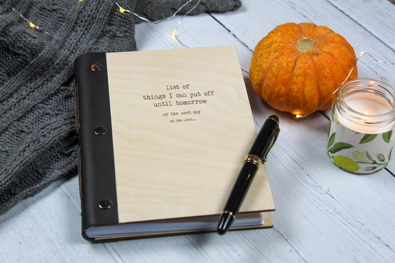Funny Wooden Notebook. A5 Wood Writing Journal. Mindfulness Gift
