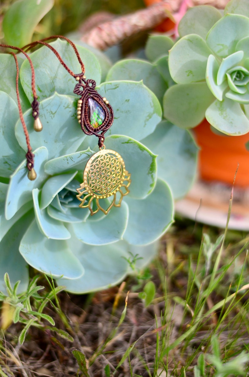 Micro Macrame Necklace with Flower of Life Lotus and Ammolite precious stone